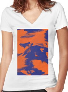 Brush Strokes (Complementary Colors) Women's Fitted V-Neck T-Shirt