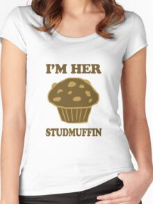 Im Her StudMuffin 1/2 Women's Fitted Scoop T-Shirt