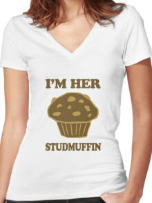Im Her StudMuffin 1/2 Women's Fitted V-Neck T-Shirt