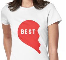 Best Friends Heart 1/2 Womens Fitted T-Shirt