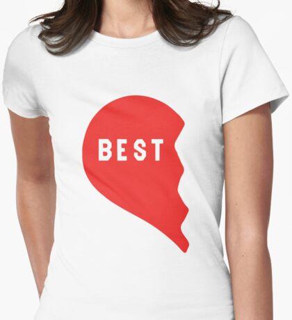Best Friends Heart 1/2 Womens Fitted T-Shirt