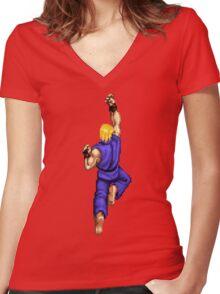Blue Ken Shoryuken Women's Fitted V-Neck T-Shirt