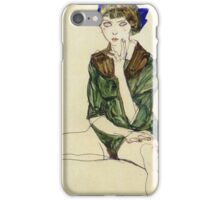 Egon Schiele - Sitting Woman In A Green Blouse 1913 iPhone Case/Skin
