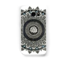 Black and White Flower Mandala with Blue Jewels Samsung Galaxy Case/Skin