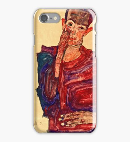 Egon Schiele - Self Portrait with Eyelid Pulled Down, 1910  iPhone Case/Skin