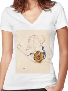 Egon Schiele - Nude with Blue Stockings, Bending Forward (1912)  Women's Fitted V-Neck T-Shirt