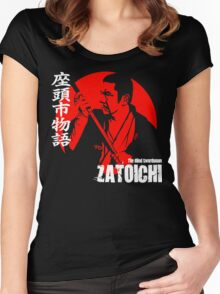 Shintaro Katsu Japan Retro Classic Samurai Movie Zatoichi The Blind Swordsman  Women's Fitted Scoop T-Shirt