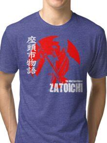 Shintaro Katsu Japan Retro Classic Samurai Movie Zatoichi The Blind Swordsman  Tri-blend T-Shirt