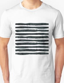 Black ink abstract horizontal stripes background Unisex T-Shirt
