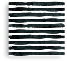 Black ink abstract horizontal stripes background Canvas Print
