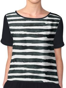 Black ink abstract horizontal stripes background Chiffon Top