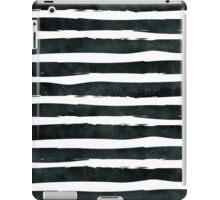 Black ink abstract horizontal stripes background iPad Case/Skin