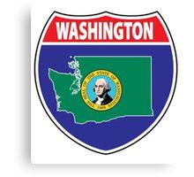 Washington flag USA seal sign Canvas Print