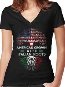 American Grown with Italian Roots Women's Fitted V-Neck T-Shirt