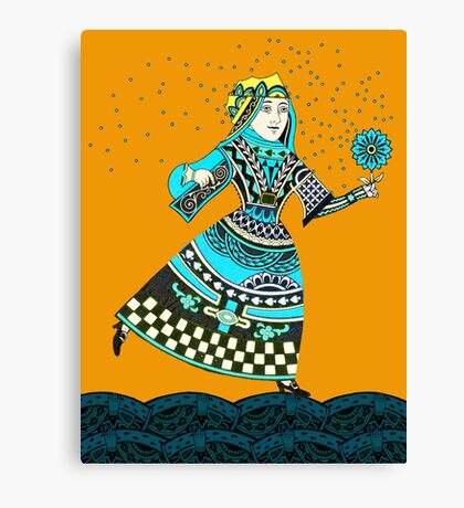 Queen Running with Magic Flower Canvas Print