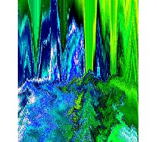 Melted Glitch (Blue & Green) Photographic Print