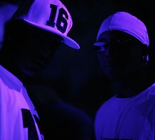 Hip hop rap gangster rappers singers at night in dark nightclub bar lit in pink black light wearing baseball caps by edwardolive