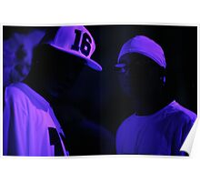 Hip hop rap gangster rappers singers at night in dark nightclub bar lit in pink black light wearing baseball caps Poster