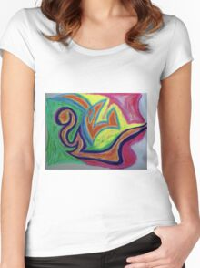 Oiled Yin and Yang Women's Fitted Scoop T-Shirt