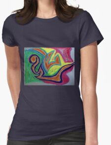 Oiled Yin and Yang Womens Fitted T-Shirt