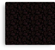 Floral pattern with leaves and branches on black background Canvas Print