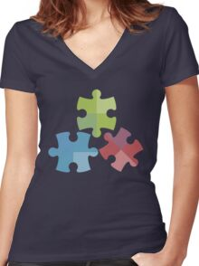 Puzzle Pieces Women's Fitted V-Neck T-Shirt