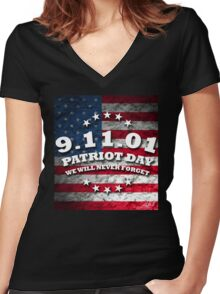 US PATRIOT DAY Women's Fitted V-Neck T-Shirt