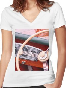 Varnish And Wood Women's Fitted V-Neck T-Shirt