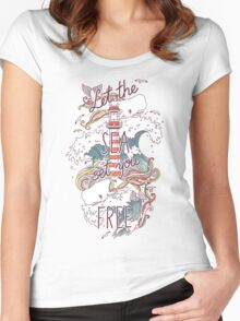 Whales and Waves Women's Fitted Scoop T-Shirt