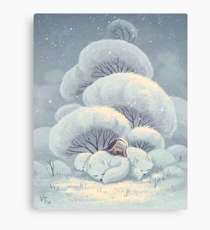 Arctic Fox Huddle Canvas Print