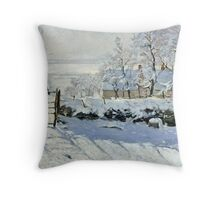 Claude Monet - The Magpie  Throw Pillow