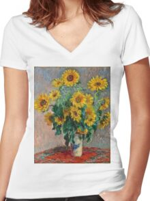 Claude Monet - Sunflowers  Women's Fitted V-Neck T-Shirt