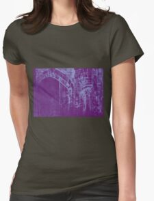 Colorful watercolor painting with classical building detail Womens Fitted T-Shirt