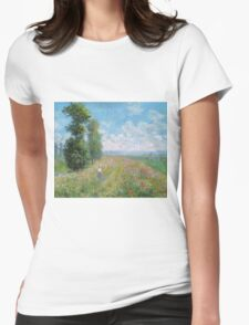 Claude Monet - Meadow With Poplars Womens Fitted T-Shirt