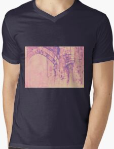 Colorful watercolor painting with classical building detail Mens V-Neck T-Shirt