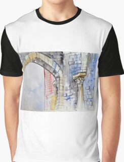 Colorful watercolor painting with classical building detail Graphic T-Shirt