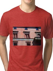 Building facade from Bologna with red brick and classical decoration Tri-blend T-Shirt