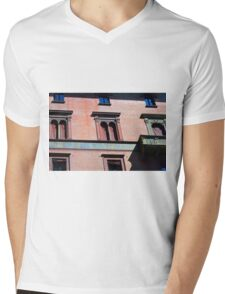 Building facade from Bologna with red brick and classical decoration Mens V-Neck T-Shirt