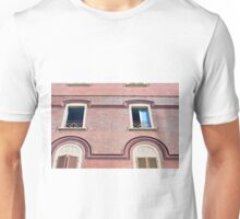 Facade detail with decorative windows and red brick  Unisex T-Shirt