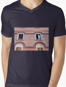 Facade detail with decorative windows and red brick  Mens V-Neck T-Shirt