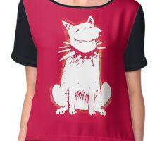 white dog red contour cartoon style illustration Chiffon Top