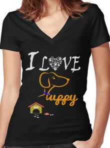 Funny Dog T-Shirt Women's Fitted V-Neck T-Shirt