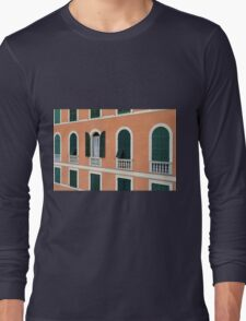 Orange Italian facade with arched windows Long Sleeve T-Shirt