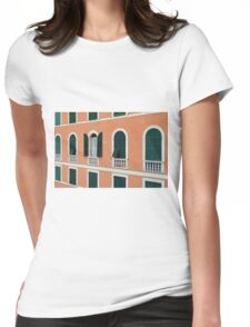 Orange Italian facade with arched windows Womens Fitted T-Shirt