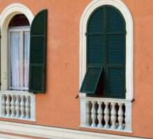 Orange Italian facade with arched windows Sticker
