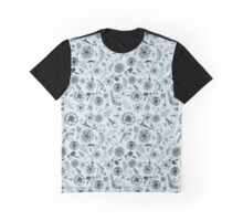 Birds&Flowers Pattern Blue Graphic T-Shirt