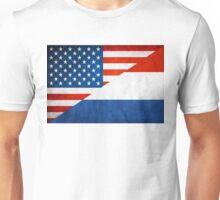 Half Netherlands Half American Flag Unisex T-Shirt