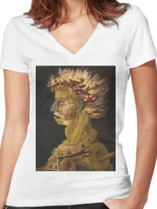 Giuseppe Arcimboldo - Fire - From The Four Elements 1566 Women's Fitted V-Neck T-Shirt