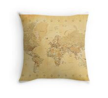 Yellow Mapping World Throw Pillow