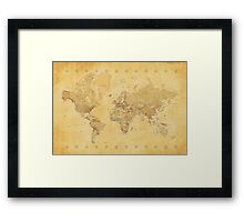 Yellow Mapping World Framed Print